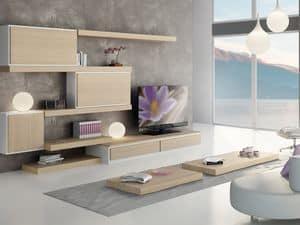 Tag Systeme 04, Modulare Möbel mit Regalen und Speichereinheiten