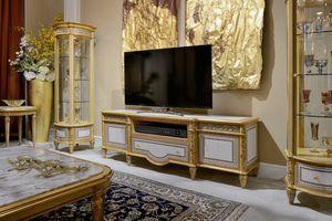 TV-Ständer 1447 im Louis XVI-Stil, TV-Ständer mit geometrischen Einlagen