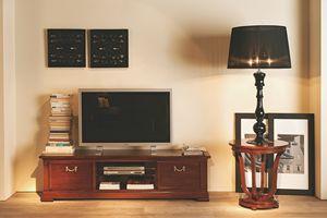 Villa Borghese TV-Möbel 5378, Fernsehschrank mit gehärtetem Glasregal