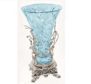 3009, Vase in hellblauem Glas und Messing mit Silber-Finish