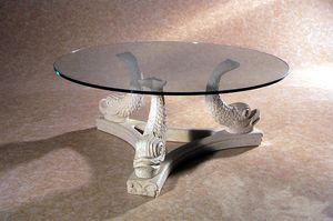 Alfeo, Steintisch, mit Fisch verzierter Fuß