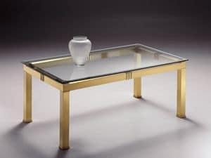 AMADEUS 3066, Rechteckiger Couchtisch aus Messing, Glas