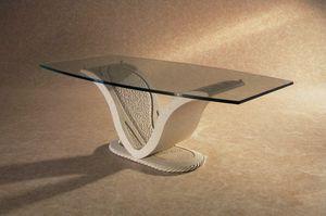 Anubi, Klassischer Tisch mit Gestell aus Stein