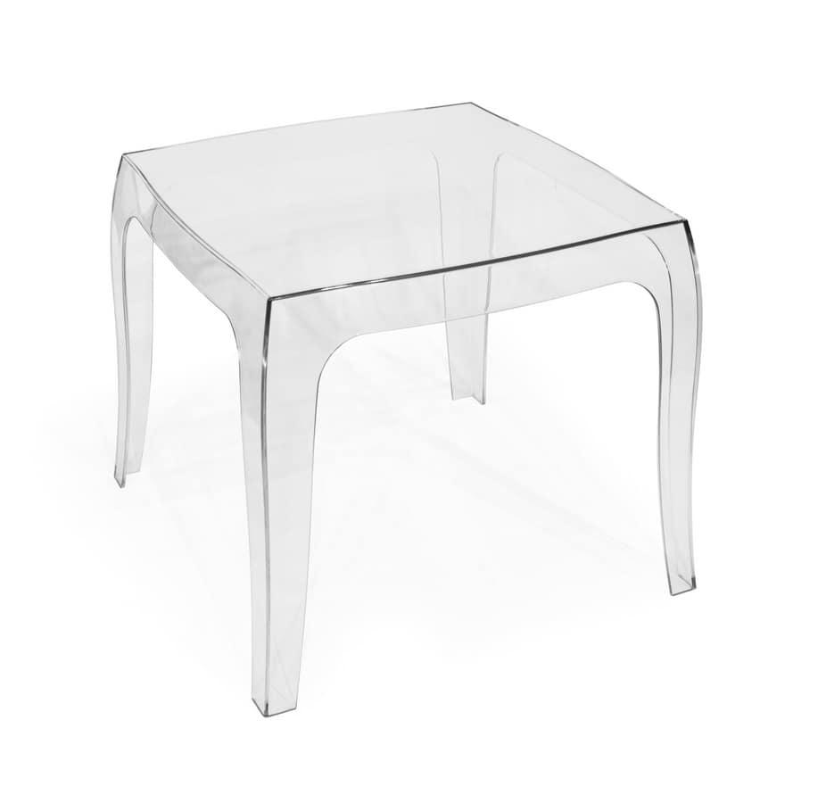 Kleiner Tisch aus transparentem Polycarbonat, geeignet für ...