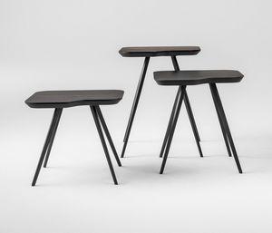 ART. 00102 AKY SMALL-MET, Design Couchtisch mit Metall Beinen und Asche Top
