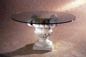 Atunis, Couchtisch im klassischen Stil mit Steinsockel
