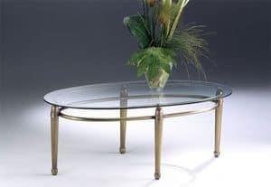 CARTESIO 260, Ovale Couchtisch aus Messing, Glas, für das Wohnzimmer gemacht