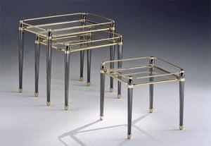 CARTESIO 274, Set Messingtische, Blattgold Oberflächen, für Wohnzimmer