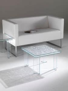 Couchtisch 01, Couchtisch mit squared oben, aus Glas, zum Wohnzimmer