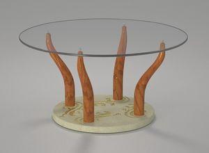 Geko, Couchtisch mit runder Glasplatte