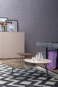 LOG, Runder Tisch mit 3 Etagen auf mehreren Ebenen