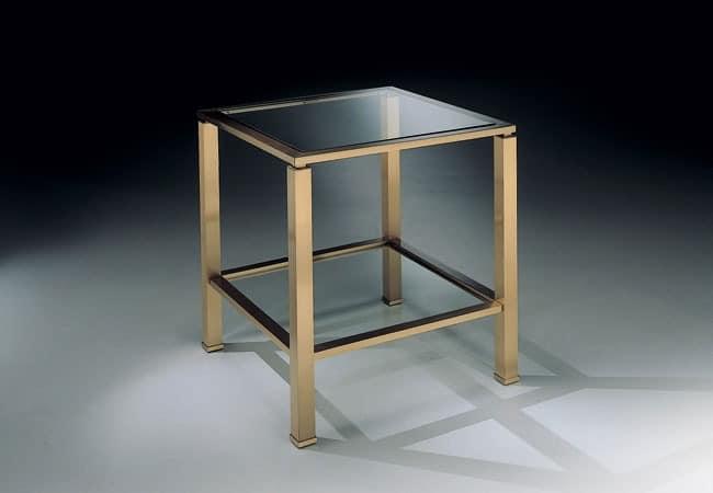 runder tisch aus metall transparente glasplatte mit fase. Black Bedroom Furniture Sets. Home Design Ideas