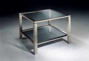 MADISON 3271, Quadratischen Couchtisch in Messing vernickelt, Glasplatte