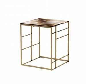 Matrix Beistelltisch, Tisch aus Bronze Metall und Glas