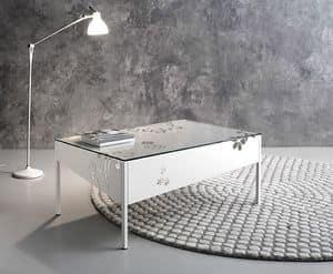 Medea rechteckiger Couchtisch, Metalllo rechteckigen Tisch mit Glasplatte