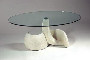 Poseidon, Tisch im klassischen Stil, Stein und Glas