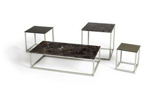 Square Less, Kleine Tische mit Metallfuß