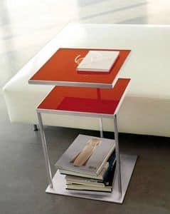 Square, Tabelle mit zwei Spitzen aus Glas, Schwenkplatte erhältlich