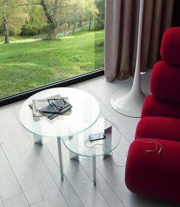t118 duo, Paar kleine Tische mit runder Glasplatte