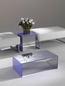 Tavolino 03, Rechteckiger Couchtisch, von farbigen Kristall