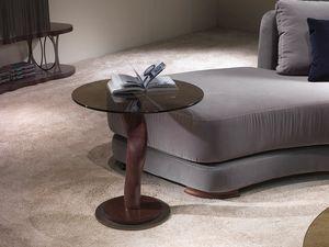 TL42C kleiner Tisch, Beistelltisch mit Bronze Glasplatte