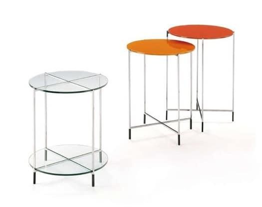 Twin, Set Couchtische mit Glasplatte und Edelstahl-Struktur