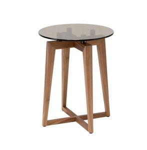 Zen runden Beistelltisch, Canaletto Walnuss Kleiner Tisch mit Glas runde Spitze