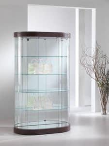 Top Line 9 mod.209/M, Oval Schaufenster, Hartglas, 4 Fachböden, für Läden und Wohnräume