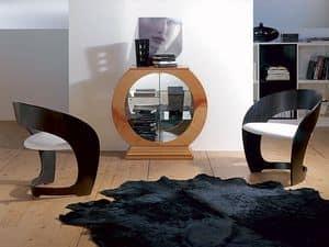 VE29 Oblò, Vitrine in Kreisform mit Spiegel, Holz Kirschrahmen