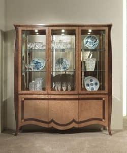 VE46 Charme, Vitrine mit 6 Türen, Holz-Intarsien, für Villen und Hotels