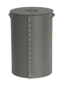 Roby, Zylindrischer Wäschekorb mit Griffen, recyceltem Leder