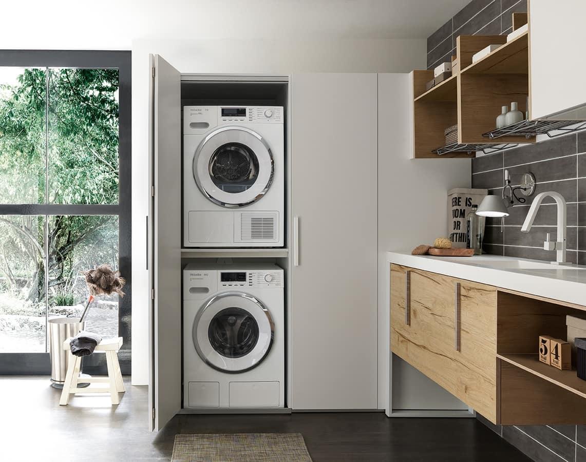 waschraumm bel mit verstecktem fach f r waschmaschine und trockner idfdesign. Black Bedroom Furniture Sets. Home Design Ideas