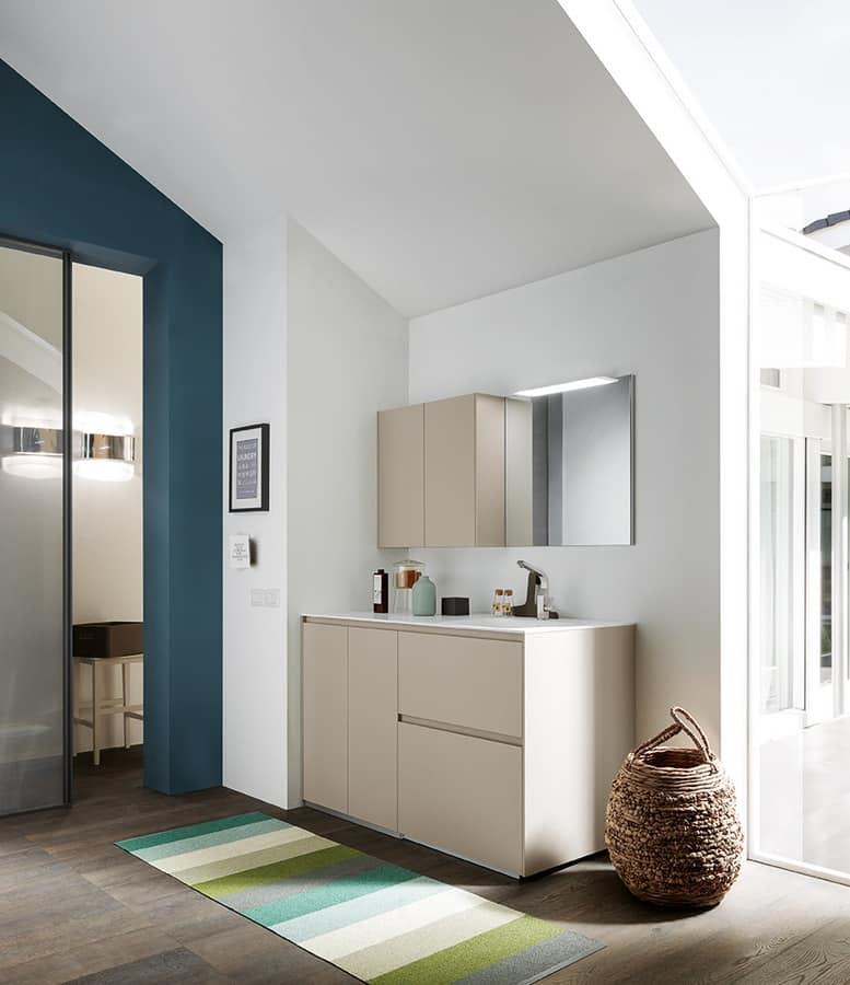 kompakter schrank f r w sche mit waschraum idfdesign. Black Bedroom Furniture Sets. Home Design Ideas