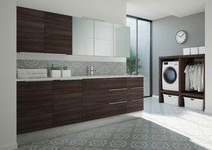 Spazio Time comp.08, Wäscheschrank mit integriertem Waschbecken