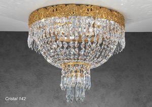 Art. CRISTAL 142, Luxuriöse Deckenleuchte mit Kristallanhängern