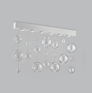 BOLERO H 70, Rechteckige Deckenlampe mit geblasenen Glaskugeln