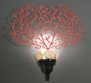 CORALLI HL1048WA-1, Wandlampe mit roter Korallen Dekoration