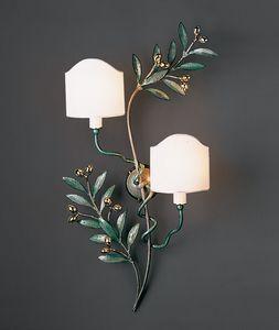 OLIVO HL1095WA-2B, Wandlampe aus glänzendem grünen Messing