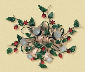 PL.6140/6, Deckenlampe mit Erdbeeren und dekorativen Blättern