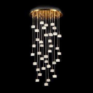Scintilla PL7610-37-CK, Deckenleuchte aus Glas mit goldenen Details