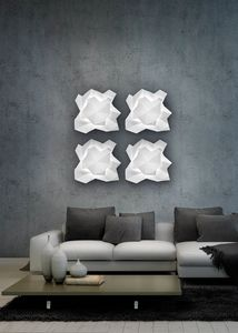 SIERRA H 47, Weiße Keramik Wandlampe mit LED-Licht
