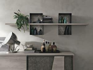 MODUS ML502, Regal aus Laminat und lackiertem Metall, für Wohnzimmer