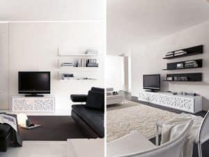 PARIS Regal, Regal aus lackiertem Laminat, für Wohn- und Schlafzimmer