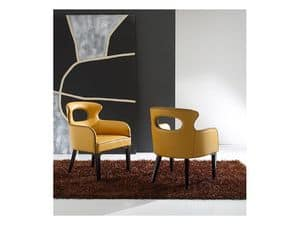 ENNEA, Tub Stuhl mit Senf farbigen Leder bezogen