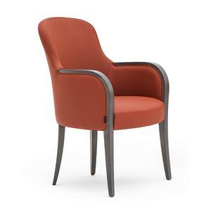 Euforia 00132, Tub Sessel, Massivholz, Sitz und Rücken gepolstert, Stoffbezug, moderner Stil