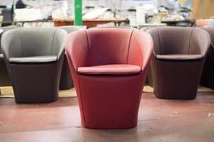 Farra, Moderner Sessel, in Leder bezogen