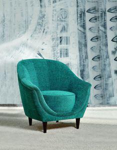 Frida, Eleganter Sessel mit Holzbeinen