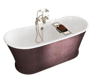 York, Badewanne aus Gusseisen mit Leder bezogen