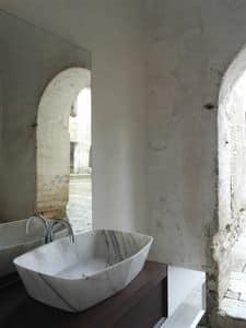 Diamond Waschbecken, Waschbecken aus Carrara-Marmor