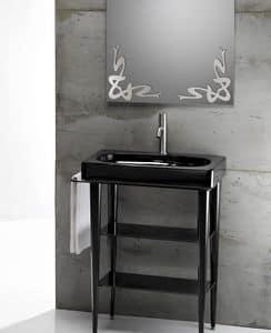 FUSION 65 DELUXE BASIN, Waschbecken aus Keramik mit Konsole aus Metall und Glas